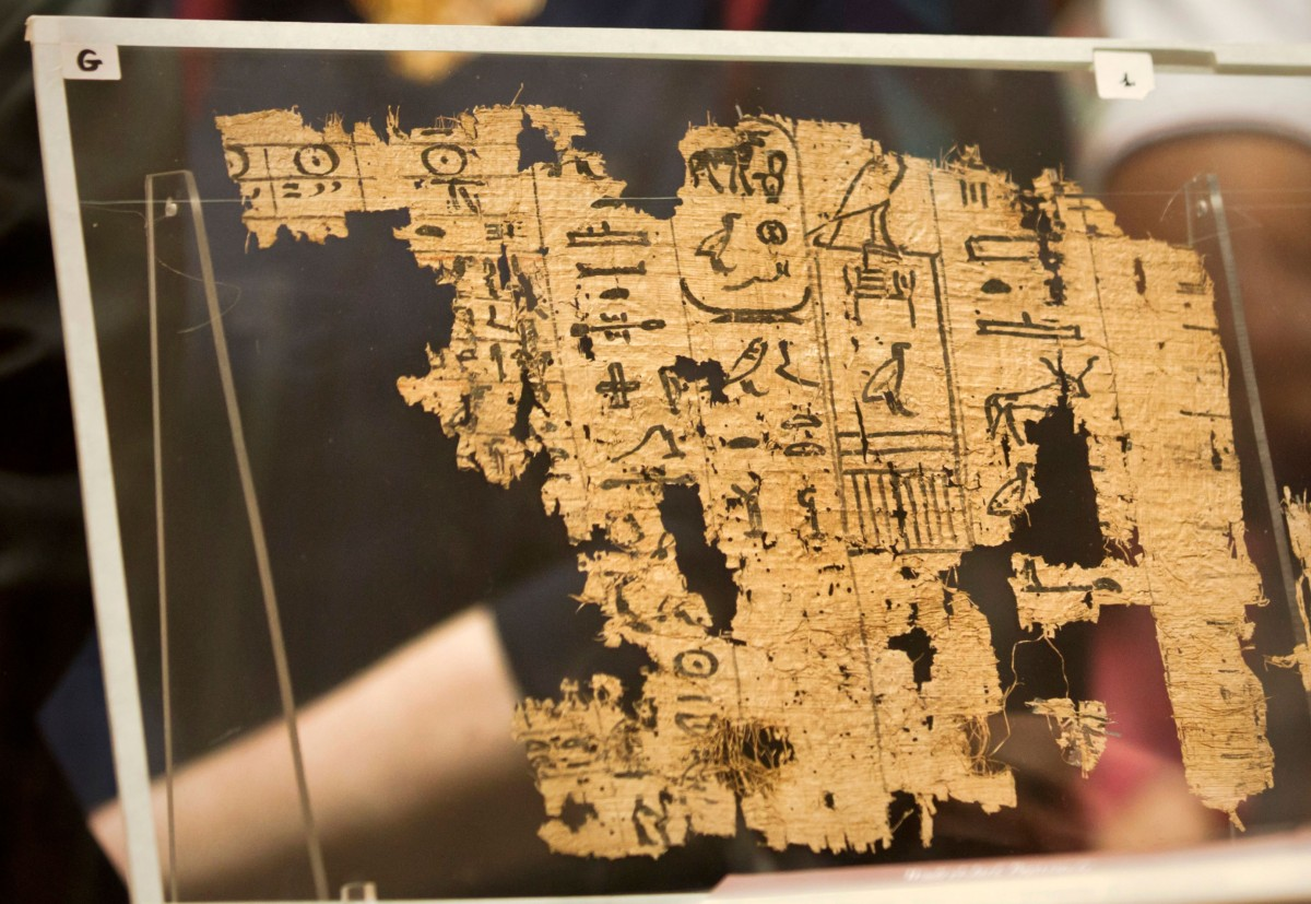 The 13th cattle count papyrus at display at the Egyptian Museum. Photo Credit: Mohammed El Raa/AFP/The History Blog.