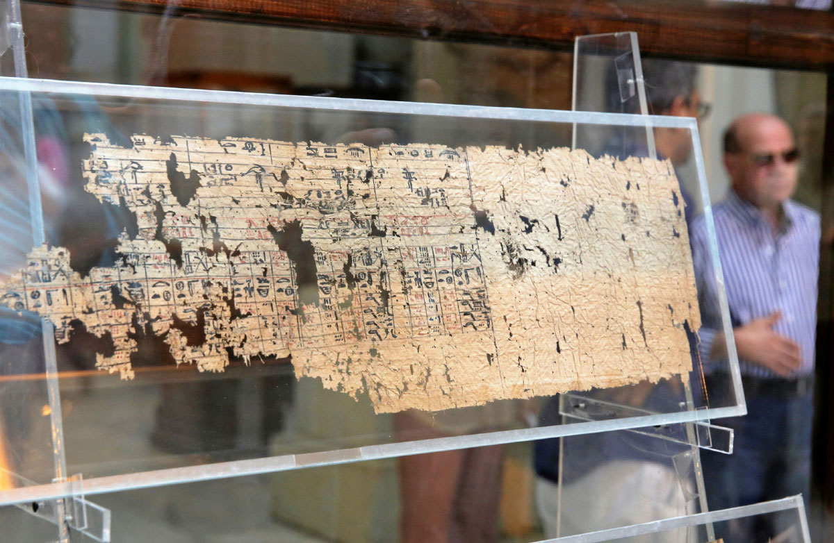 One of the papyri at display at the Egyptian Museum in Cairo. REUTERS/Mohamed Abd al Ghany/The History Blog.