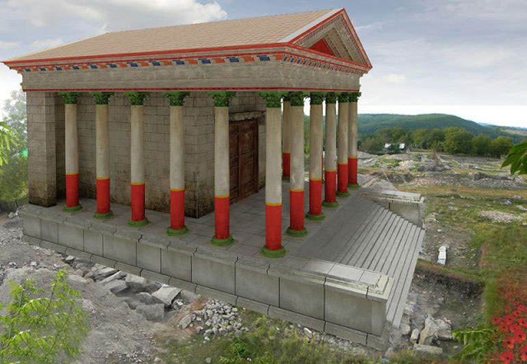 Proposed reconstruction of the Roman Temple. Image Credit: Libertatea/Realm of History.