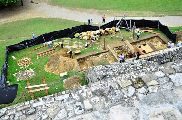The excavation started in 2012 but archaeologists have revealed what may be a system of tunnels that carried water beneath the temple, reinforcing ideas that water played a key role in Mayan religion. Photo Credit: EPA/Daily Mail.