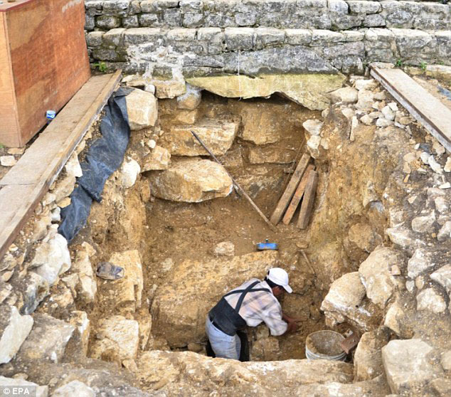 Excavations in front of the pyramid steps where the stone tunnel was discovered, carefully covered with three layers of stone. Photo Credit: EPA/Daily Mail.