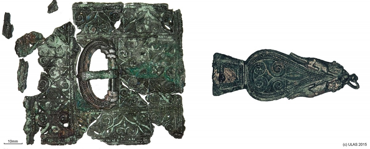 Fig. 3. The late Roman belt set found with Skeleton 23, comprising a belt buckle, belt plate and strap end.