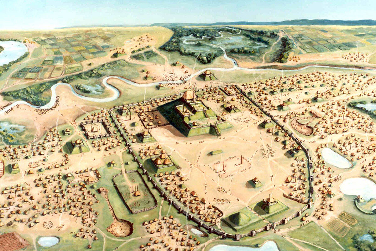 A new study of Cahokia finds that those buried in mass graves likely lived in or near the pre-Columbian city most of their lives. Image courtesy Cahokia Mounds State Historic Site, painting by William R.  Iseminger.