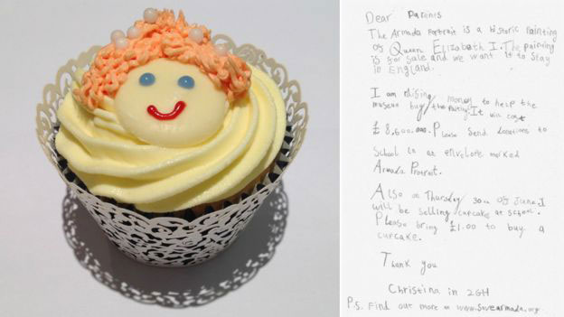 A seven-year-old Wakefield girl sold Elizabeth I cupcakes dressed in a costume inspired by the painting in order to raise money for the campaign. Image Credit: BBC/Art Fund.