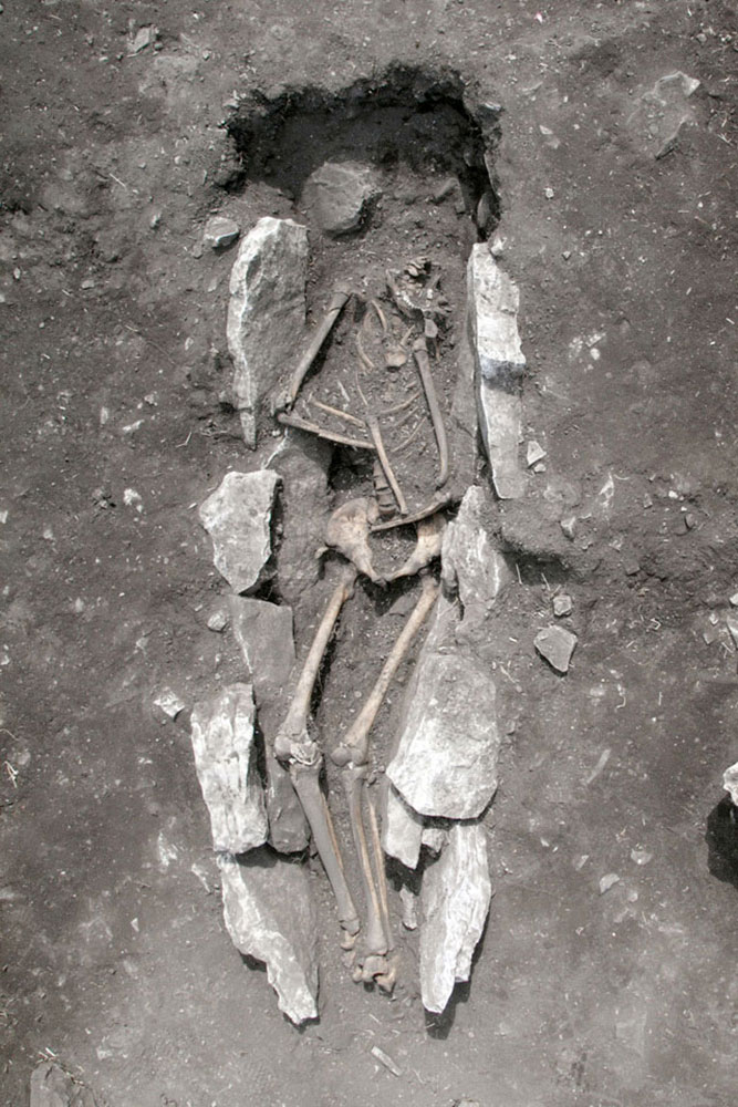 View of the skeleton at the center of Mt. Lykaion s altar.