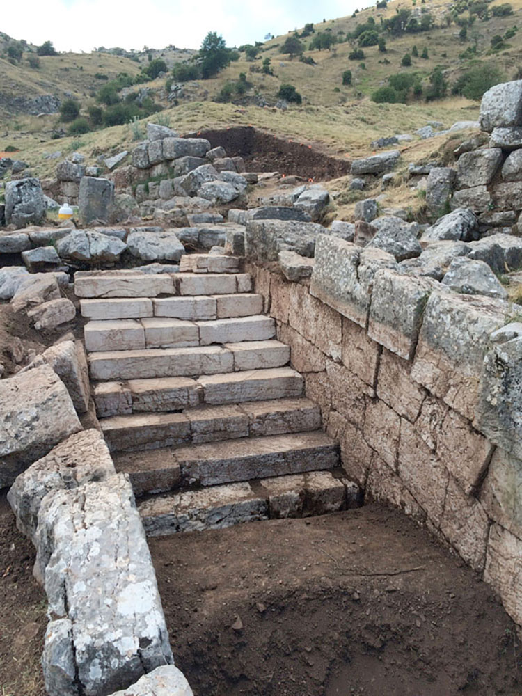 Monumental staircase at the end of lower sanctuary s corridor at Mt. Lykaion.