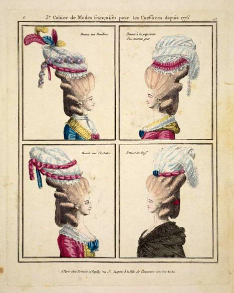 Hairstyles in French fashion plates, 1776.