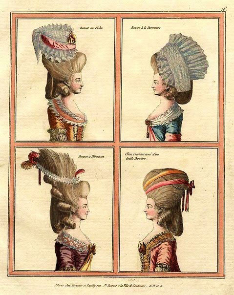 Hairstyles in French fashion plates, 1777.