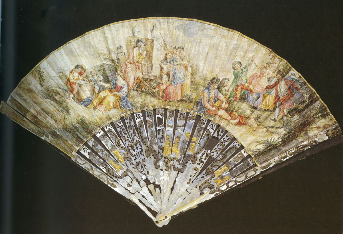 Two-sided fan, depicting scene of a rural feast. France, ca. 1760.