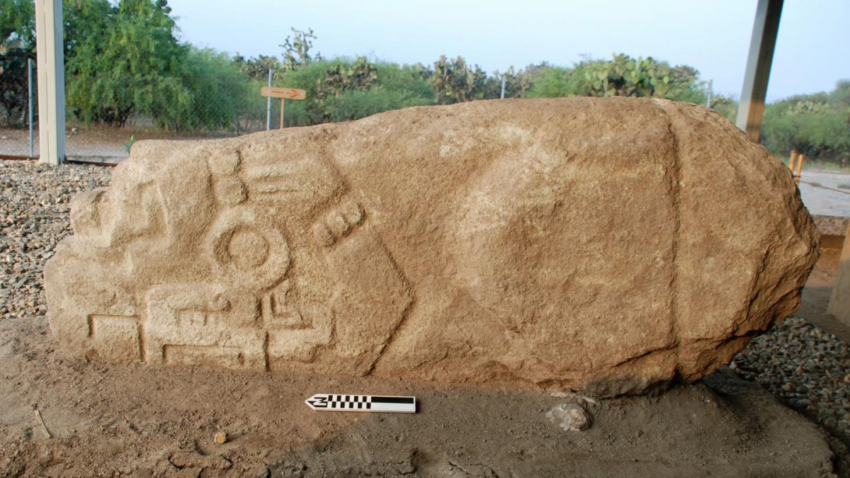 The crocodile stone discovered by Field Museum archaeologists. Credit: © Linda Nicholas, The Field Museum