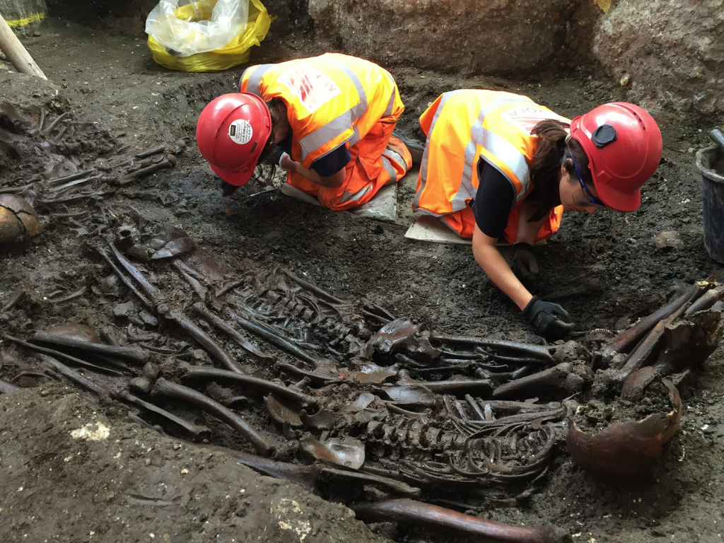 Mass burial uncovered at Crossrail Liverpool Street.