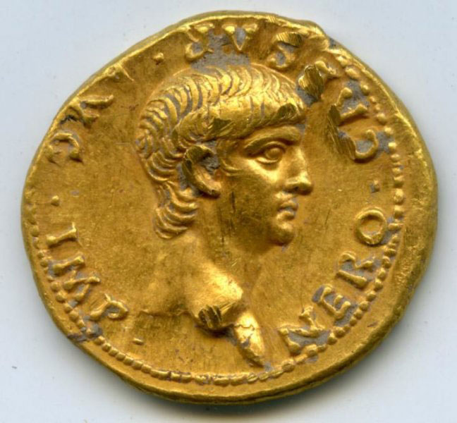 The gold coin (aureus) bears the bare-headed portrait of the young Nero as Caesar.
