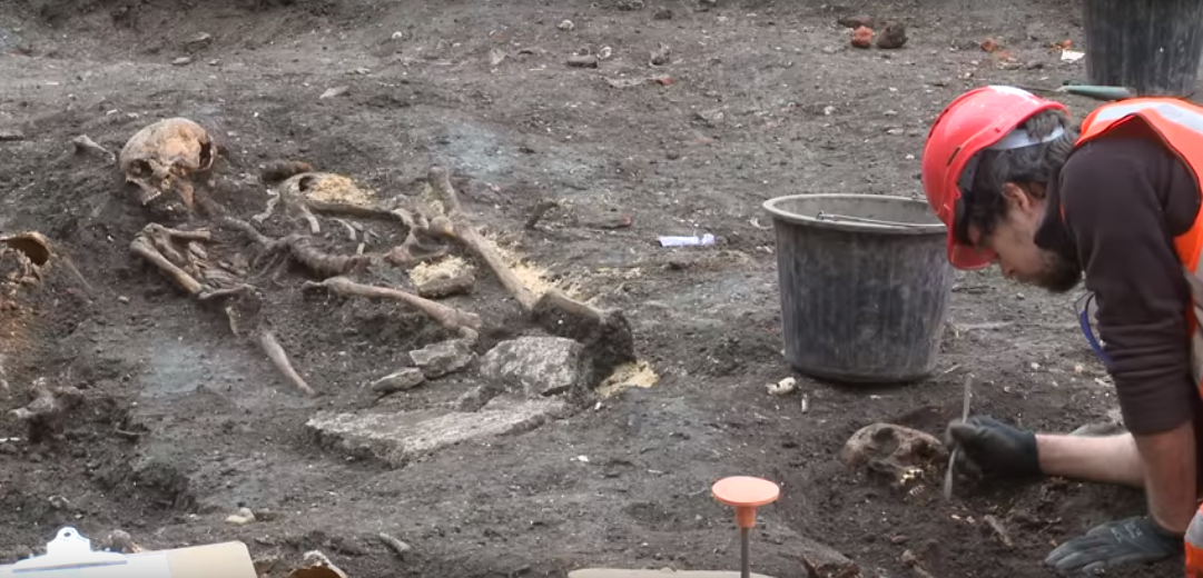 The discovery comes following a year-long study of skeletons found in a mass grave within the New Churchyard, the burial ground excavated by Museum of London Archaeology (MOLA) during construction of the new Elizabeth line station at Liverpool Street in 2015.