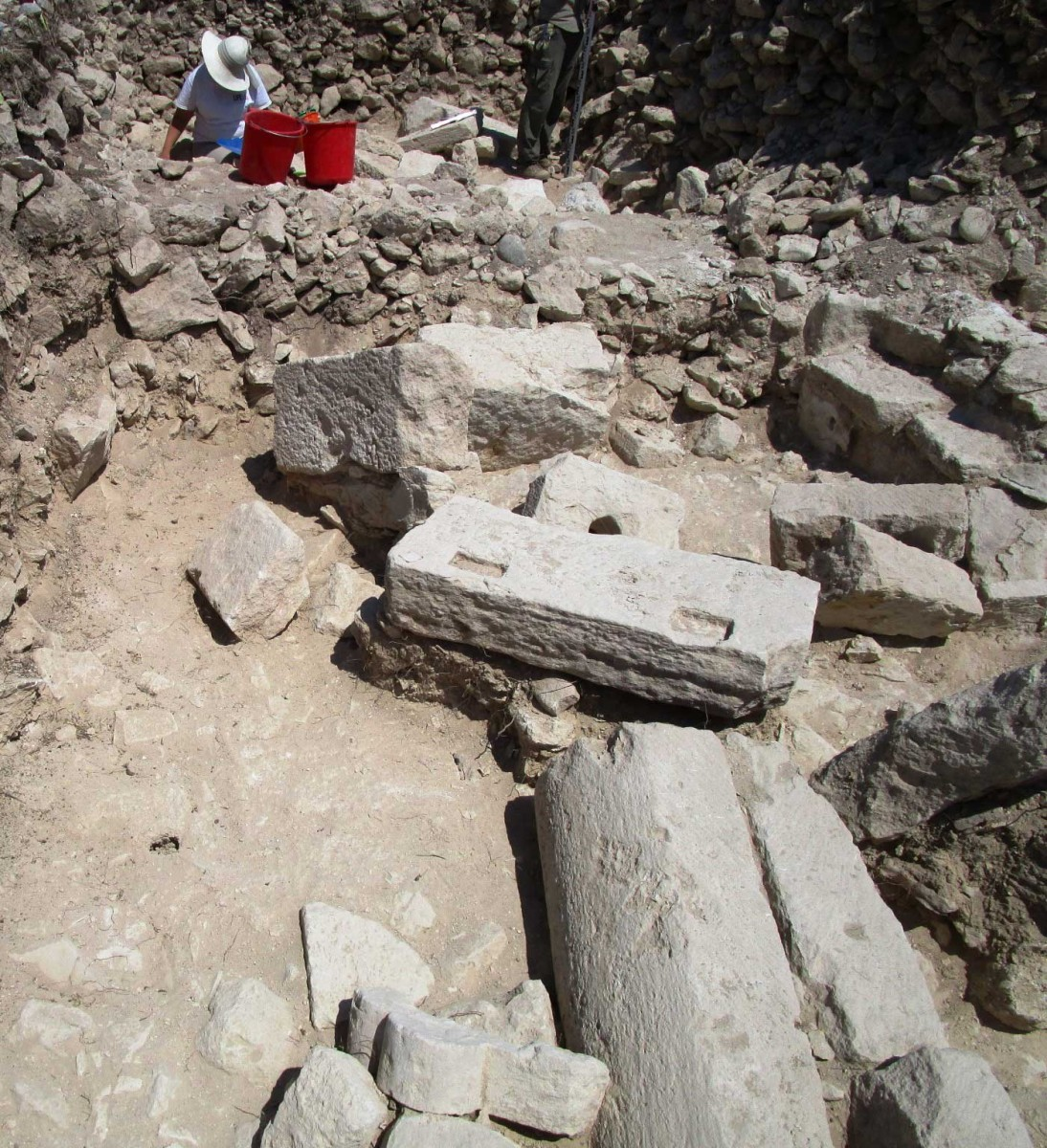 Ancient Kourion: Architectural members collapsed as a result of the earthquake.