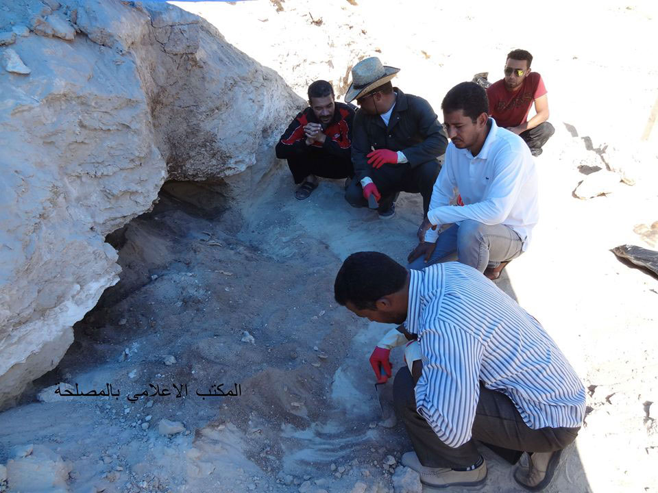 The Libyan Department of Antiquities sent a team of archaeologists to the site to start excavations. Photo Credit: Libya Department of Antiquities/The Libya Observer