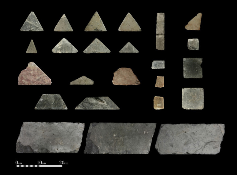 Opus Sectile floor tiles from the Temple Mount courts. Credit: Temple Mount Sifting Project