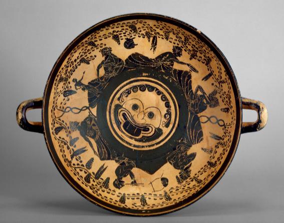 Athenian black-figure footed cup (kylix) c. 500 BCE [Credit: Ashmolean Museum, University of Oxford].
