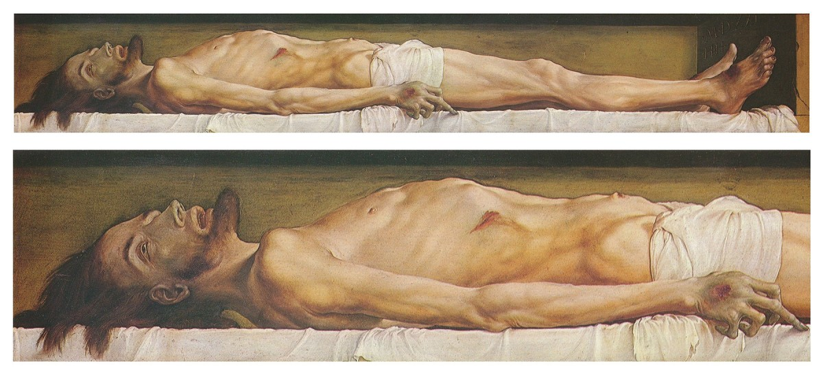 The Body of the Dead Christ in the Tomb (and detail, lower) 30.5 cm × 200 cm. Öffentliche Kunstsammlung, Basel.
