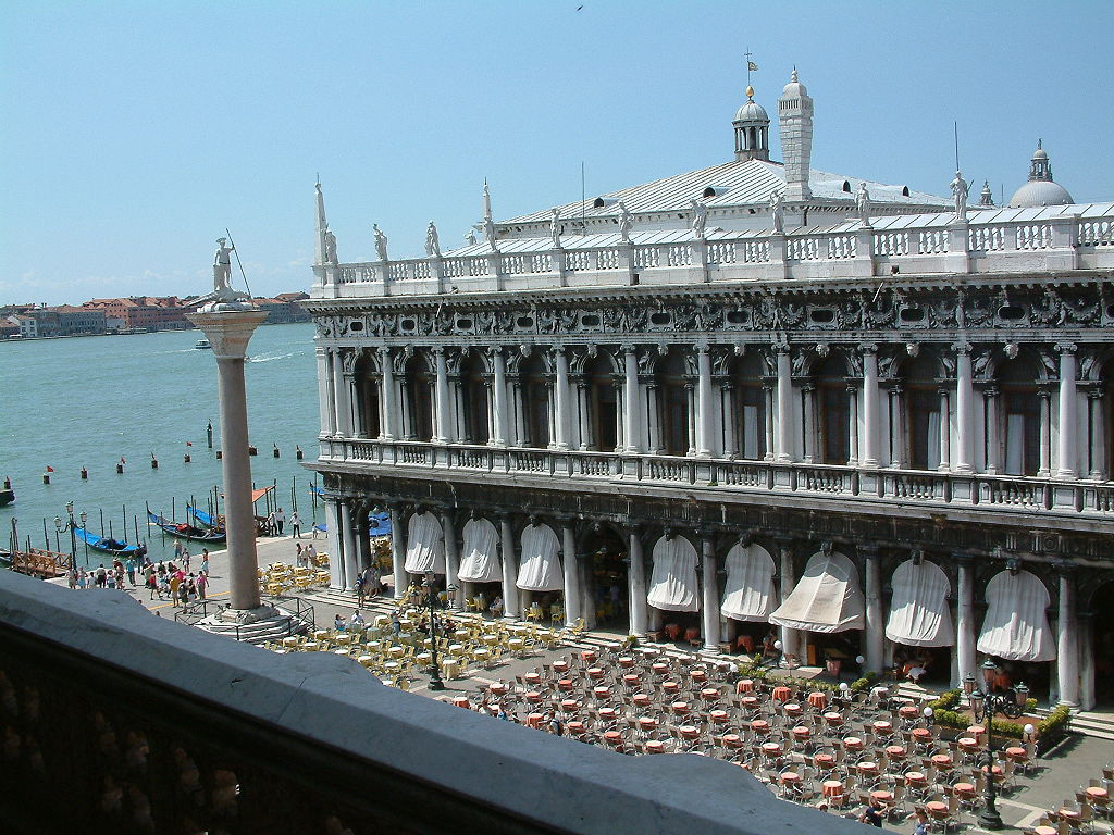 Marciana Library, entry from the Correr Museum, San Marco Square, Venice.