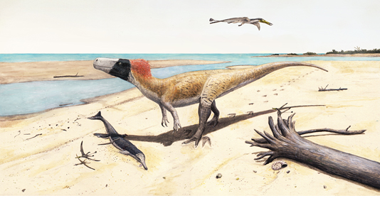Artist's impression of W. albati. The dinosaur is shown together with other organisms whose fossil remains were recovered in the same locality. Picture: Joschua Knüppe.