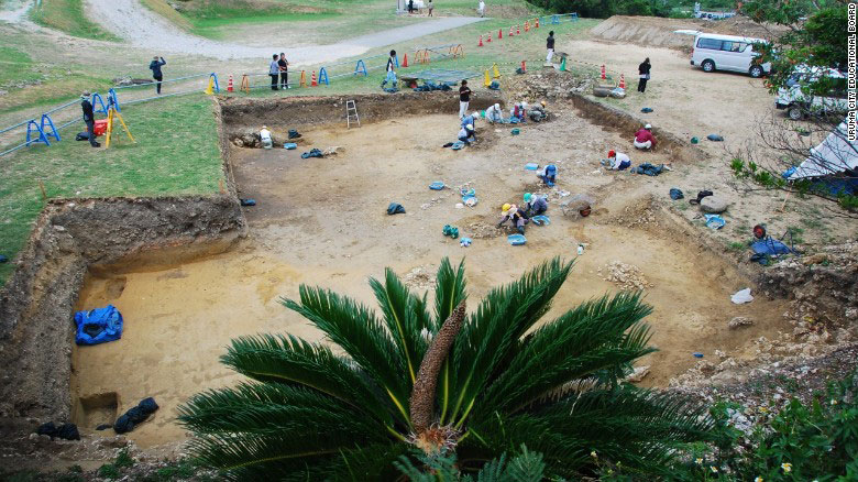 A team of archeologist excavate the Kasturen castle site. Photo Credit: Uruma City Education Board/CNN.
