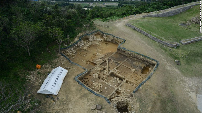 An aerial view of the Kasturen castle excavation site. Photo Credit: Uruma City Education Board/CNN.
