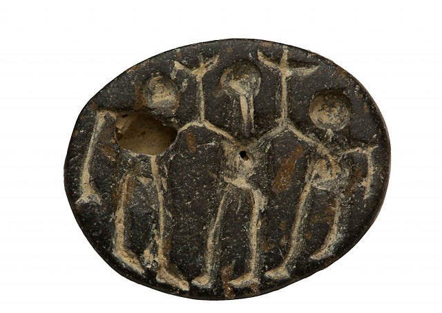 This stone seal, likely depicting a ritual dance, was found at the Abel Beth Maacah dig site in Israel.