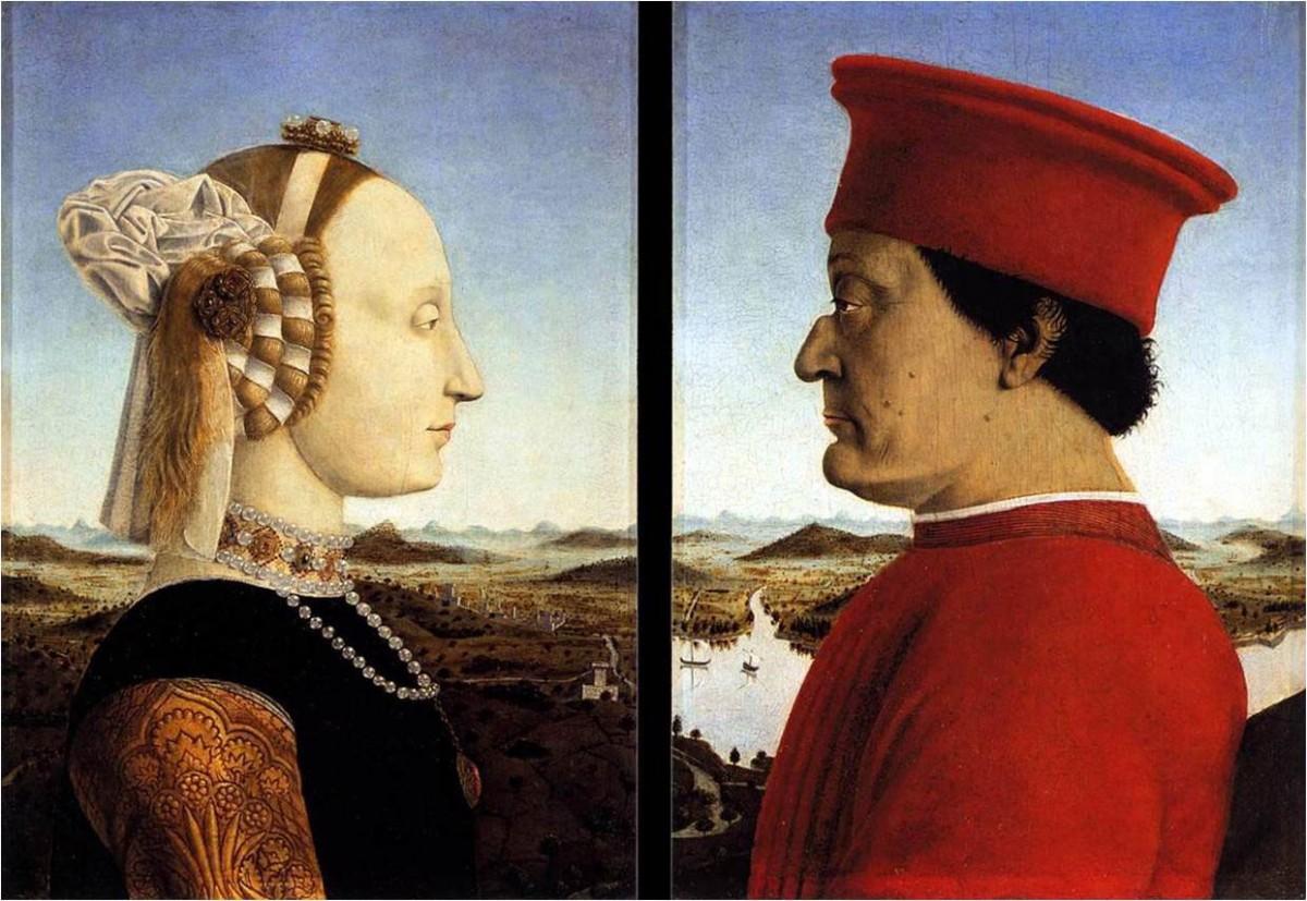 """Fig. 10. Piero della Francesca, """"The Montefeltro diptych"""", c. 1472. Uffizi Gallery, Florence."""