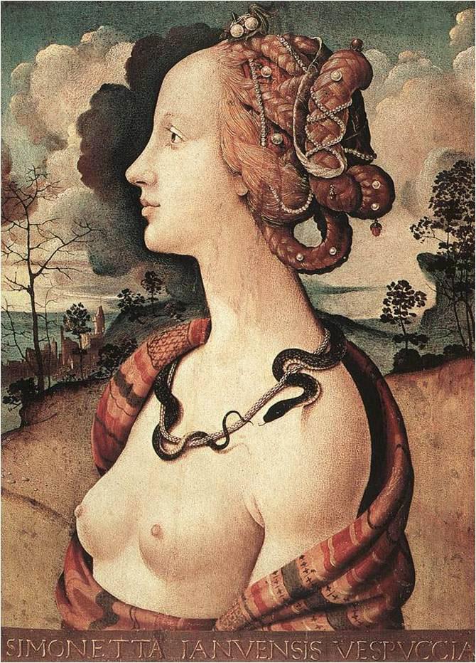"Fig. 7. Piero di Cosimo, ""Simonetta Vespucci"", c. 1480. Musée Condé, Chantilly."
