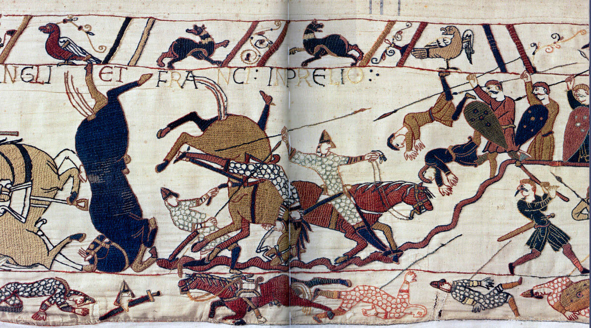 Bayeux Tapestry scene of Battle of Hastings showing knights and horses.
