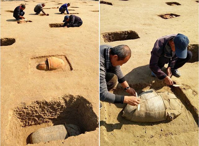 The tombs, all of the urn burial type, are part of the Fudi city ruins in Huanghua, Hebei. Photo Credit: Xinhua/Yang Shiyao/TANN.