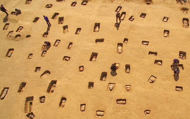 A total of 113 tombs, estimated to be more than 2,000 years old, have been discovered in Hebei,  according to archaeologists. Photo Credit: Xinhua/Yang Shiyao/TANN.