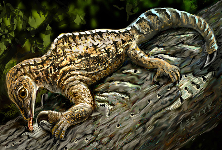 In this illustration set 212 million years ago in what is today New Mexico, a Drepanosaurus rips away tree bark  with its massive claw and powerful arm [Credit: Victor Leshyk].
