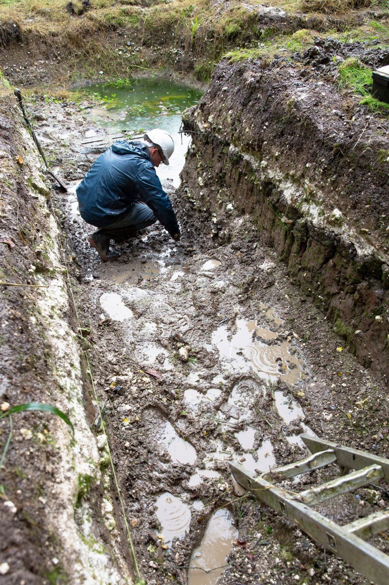 David Jacques in Blick Mead. The site has yielded evidence of the earliest settlement near Stonehenge. Photograph: University of Buckingham/PA/The Guardian.