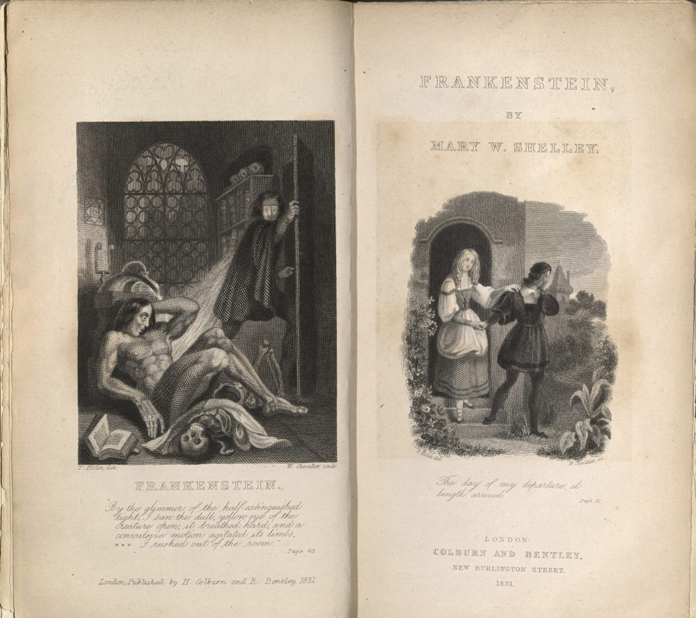 This is the first illustrated edition of Frankenstein, the 3rd edition, published in 1831. Engraved title-page and frontispiece illustrations engraved by W. Chevalier after T. [von] Holst.
