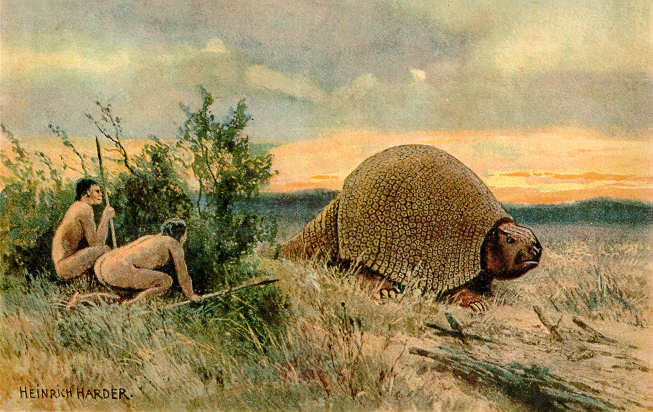 Humans hunting Glyptodon, by Heinrich Harder.
