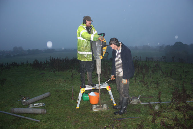 Drilling in the rain at Skipsea – thankfully it was worth it in the end! Photo Credit: The Round Mound Project.