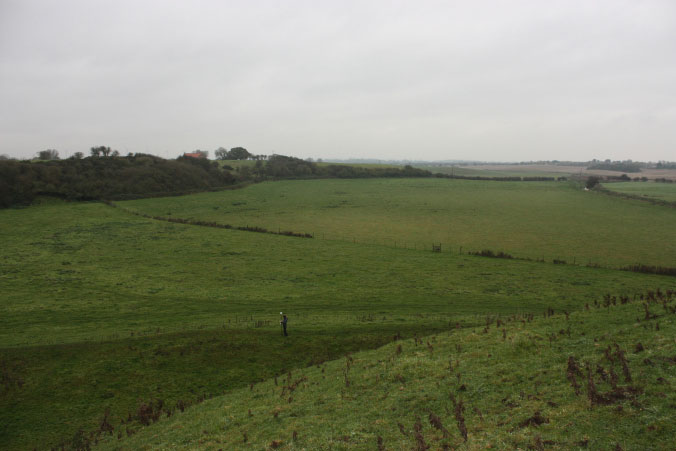 View of Skipsea mere – a former lake drained in the 18th century – as seen from the top of the mound. Photo Credit: The Round Mound Project.