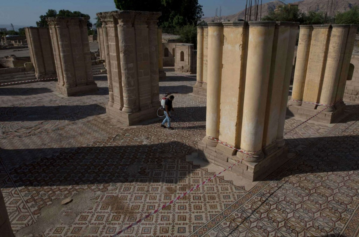 Mosaic floors of bath complex at Hisham's Palace. Photo Credit: AP/Nasser Nasser/The History Blog.