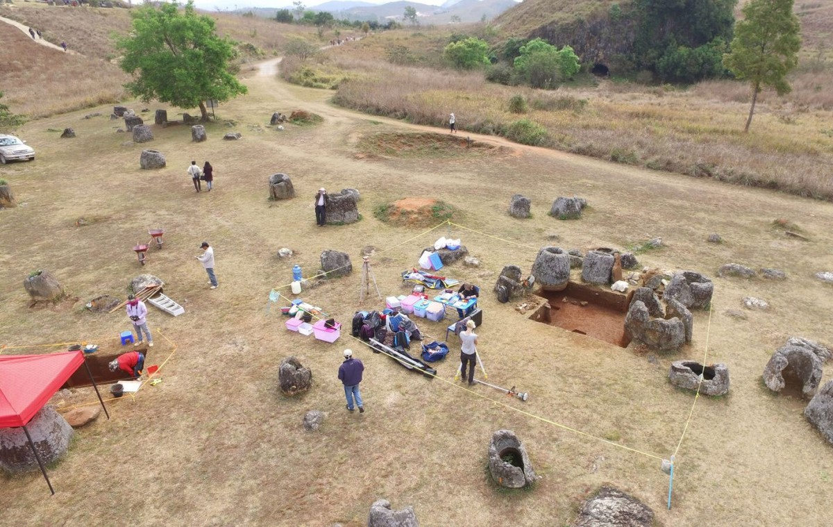 Plain of Jars, Laos: Researchers used a drone to take overhead photos. Credit: ANU