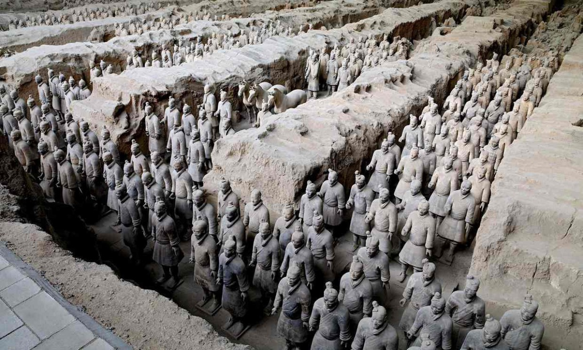 Some of the 8,000 life-size terracotta figures near the tomb of China's first emperor. Photograph: Museum of the Terracotta Army/PA/The Guardian.