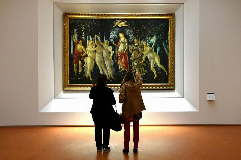Botticelli's Spring at the newly renovated Uffizi Gallery in Florence. Photo Credit Alberto Pizzoli/AFPGetty Images/The New York Times.