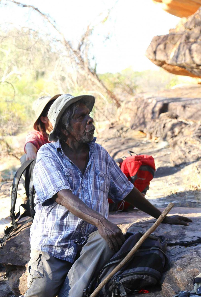 alanggarra elder Ambrose Charlameri at one of the rock art sites on the King George river. He says: 'Rock art is part of the story and part of history for us.' Photo Credit: Peter Veth/University of Western Australia/The Guardian.