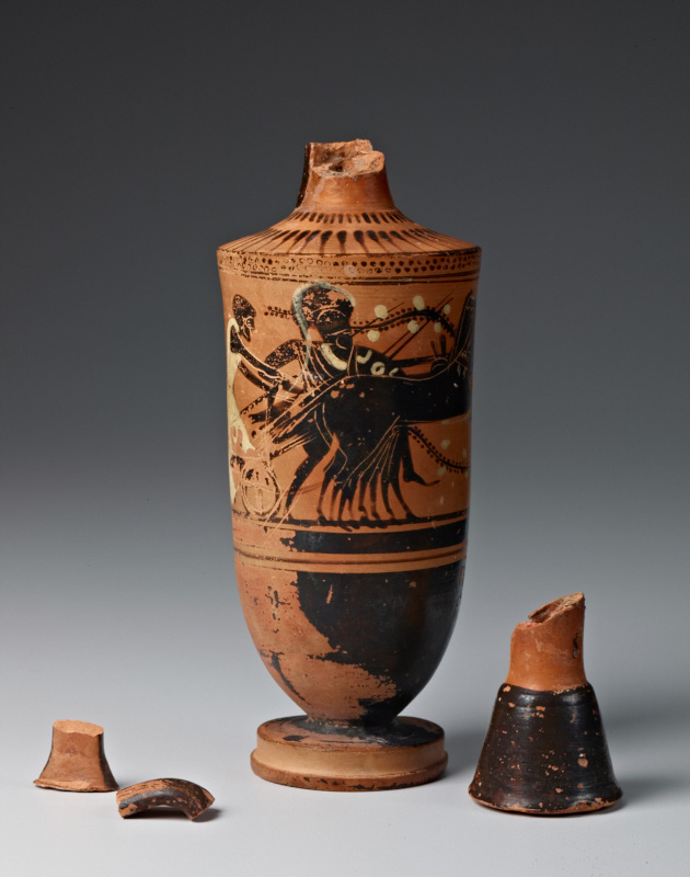 Athenian oil-flask (lekythos) from 500-480 B.C., decorated in the black-figure technique.  Credit: SLAC National Accelerator Laboratory