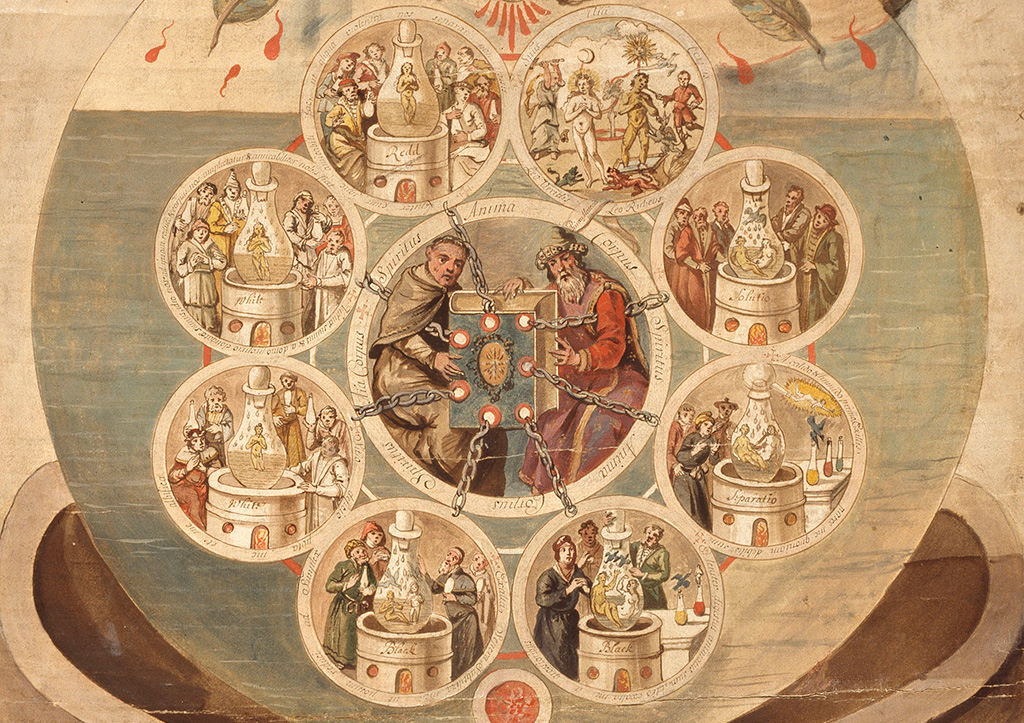 Alchemists Revealing Secrets from the Book of Seven Seals, The Ripley Scroll (detail), ca. 1700.