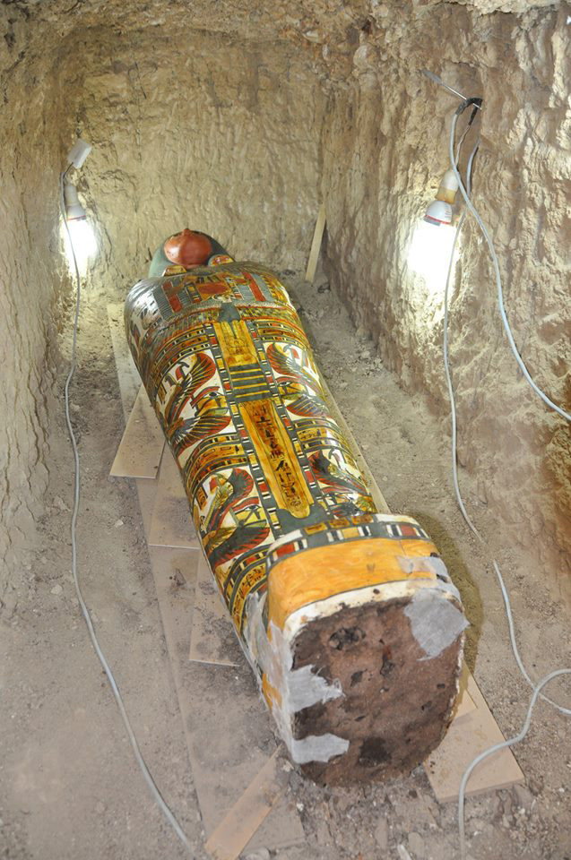 The cartonnage mummy inside the tomb. Credit: Egypt Antiquities Department