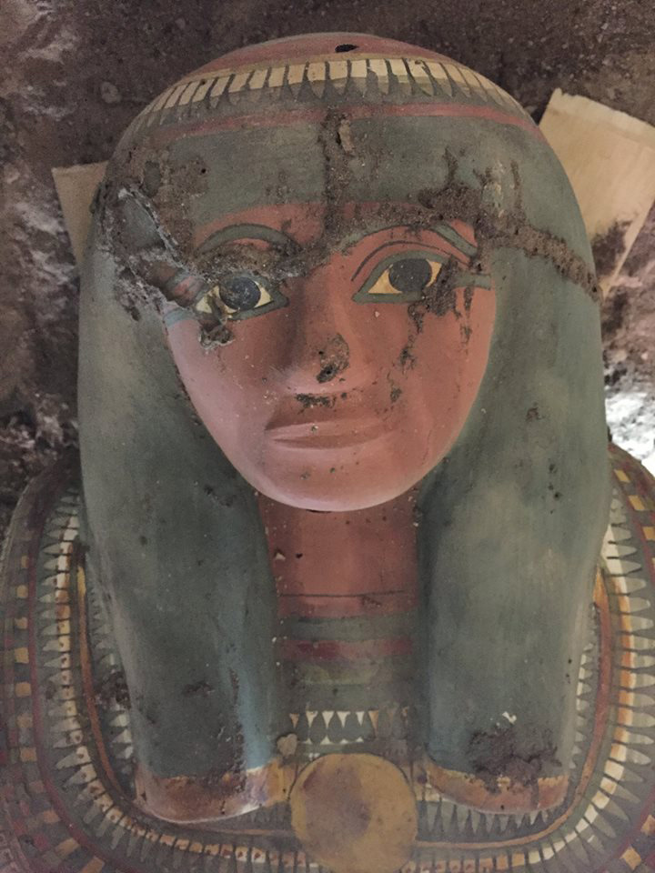 The face of the cartonnage mummy. Credit: Egypt Antiquities Department