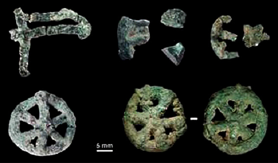 A collection of small lost-wax cast ornamental objects found during excavations at the MR2 site at Mehrgarh  (early Chalcolithic, end of period III, 4500-3600 BC). Credit: D. Bagault, B. Mille, C2RMF.