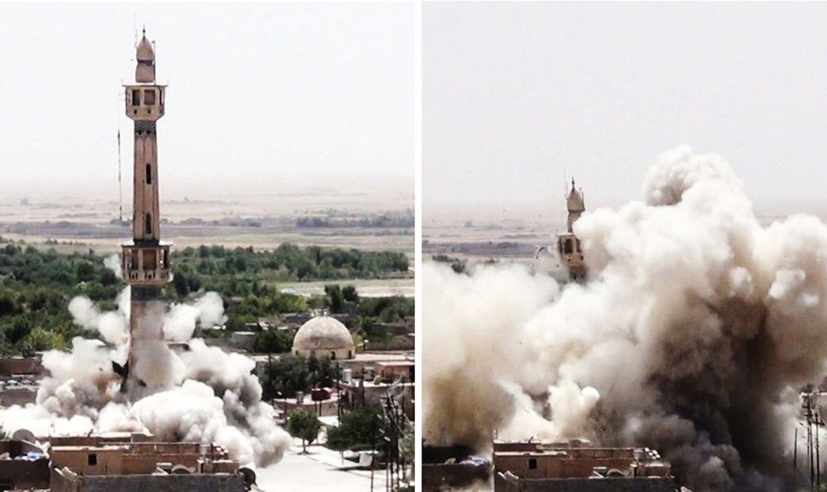 "Fig.  4. Blowing up the temple of ""Husayniyyat Jawwād"" at Tal Afar (Source: Blowing up the ""Husayniyyatul-Qubbah"" temple in Mosul: A photo report on the destruction of shirk in Wilāyat Nīnawā», Dabiq, issue. 2 (n.d.), p. 17)."