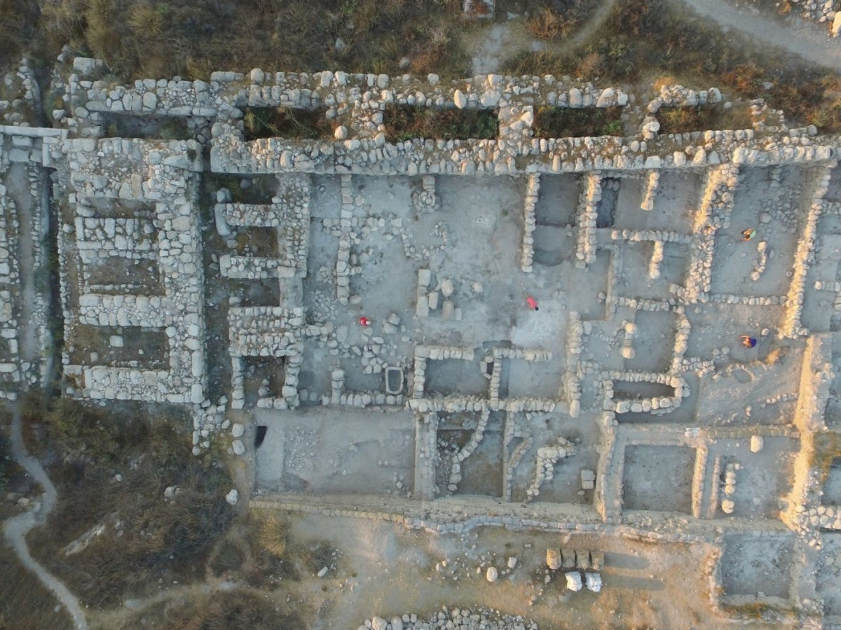 Aerial view of the palatial building found in ancient Gezer, which archaeologists have tentatively dated to King Solomon's time. Tel Gezer Excavation Project, Steven M. Ortiz